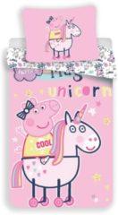 Roze Dekbedovertrek Peppa Pig Unicorn Pink 140x200+70x90 cm