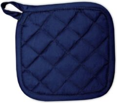 Marineblauwe I2T - Kitchen Collection I2T Pannenlappen 21x21 cm - Set van 4 - Navy blauw - 185 gr/m²