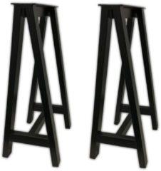 Zwarte Max4home Metalen schagen niet-verstelbare poten wastafelblad set 2 stuk
