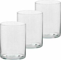 Transparante Trend Candles 3x Hoge theelichthouders/waxinelichthouders van glas 5,5 x 6,5 cm - Glazen kaarsenhouders - Woondecoraties