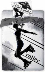 Grijze Faro Rollerblading - rollerblanding inline skate dekbedovertrek - rolschaatser - eenpersoons - rollerskater - 100% katoen