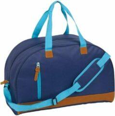 Merkloos / Sans marque Sporttas/reistas donkerblauw met kunstleer 50 cm - Weekendtassen - Voetbaltassen 40 liter