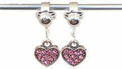 MNQ bijoux - Clipoorbellen - Oorclips - Kind - Meisje - Glitterhartjes - Roze - Hangers
