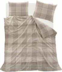 Homéé® Dekbedovertreksets tartan geruit - tweepersoons 200x200/220 cm +2 slopen - 100% katoen - beige