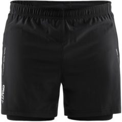 Zwarte Craft Essential 2-In-1 Shorts M Sportbroek Heren - Black - Maat XXL