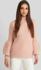 Trendyol High Neck Puff Sleeve Knitted Sweater - Pink