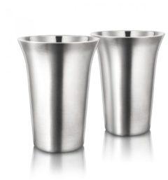 Zilveren Final Touch - Koffiekopjes Dubbelwandig Metaal / RVS- Set van 2 - 355ml