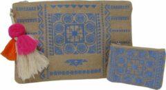 Jessidress Hyppies Handtasje met Portemonnee Ibiza Style Enveloppe Tas van Jutte - Blauw