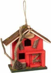 J-Line Vogelhuis Decoratief Hout Rood Assortiment Van 2