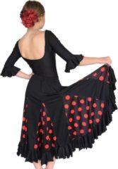 Spaansejurk NL Spaanse Flamenco Rok - Zwart met Rode Stippen voor meisjes - Maat 12 - kledingmaat 140-146