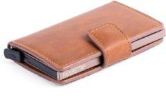 Figuretta-pasjeshouder- Aluminium- RFID- Cardprotector in PU Leer - Cognac