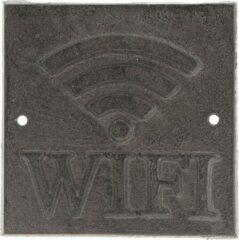 Clayre & Eef Tekstbord 6Y3014 13*13*1 cm Bruin Metaal Vierkant Wandbord Quote Bord Spreuk