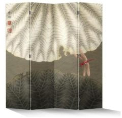 Fine Asianliving Chinees Kamerscherm Oosters Scheidingswand 4 Panelen Vintage Rode Libelle L160xH180cm