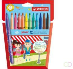 Etui 12 kleurviltstiften Stabilo Power in geassorteerde kleuren - gemiddelde punt