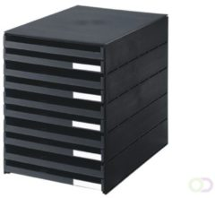Zwarte Huismerk Styro ladenblok Styroval met 10 open laden zwart