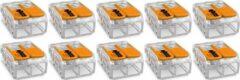 Merkloos / Sans marque WAGO - Lasklem Set 10 Stuks - 2 Polig met Klemmetjes - Oranje