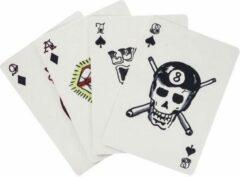 Kikkerland speelkaarten tattoo 5 x 7,5 cm karton blauw 54-delig