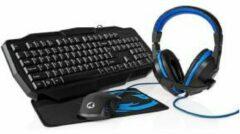 Nedis Gaming Combo Kit 4 in 1   Toetsenbord   Koptelefoon   Muis   Muismat   Amerikaanse Internationale Indeling   Zwart