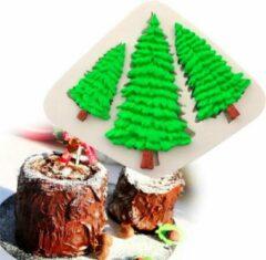 Beige ProductGoods - Fondant Kerstbomen Mal - Siliconen Kerst Versiering Vorm - Kerstboom Fondant / Marsepein / Chocolade / Zeep - Voor Kerstmis Decoratie Van Taart, Cupcakes en Cake / Siliconen Bakvorm