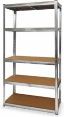 Roestvrijstalen LifeGoods Stellingkast - 5 Legplanken - 175kg per Plank - 90x40x180 cm - Metaal / MDF - RVS