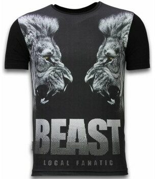 Afbeelding van Zwarte T-shirt Korte Mouw Local Fanatic Beast - Digital Rhinestone T-shirt
