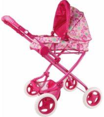 Merkloos / Sans marque Roze poppen wandelwagen met bloemen