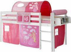 LSD Half-hoogslaper paard/kasteel roze wit gelakt incl. de voorhangtent onder het bed