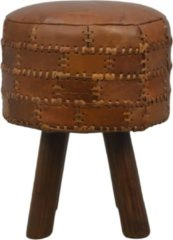 HSM Collection Kruk Patchwork - ø33 cm - leder - vintage cognac