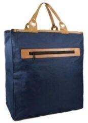 Piace Molto New-Rebels® sterke Eco Boodschappentas met lederen handvatten - 30 Liter - Blauw