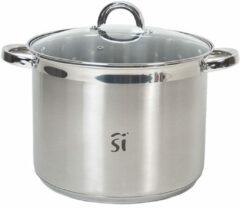Zilveren San Ignacio Luxe RVS kookpan/pan Loa met glazen deksel 26 cm 9,5 liter - Kookpannen/aardappelpan - Koken - Keukengerei
