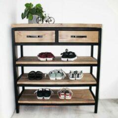 """Oost & Dijk Interieur Industriële schoenenkast hout en metaal """"Denver"""" - 120 x 30 x 100 cm"""