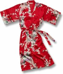TA-HWA Kimono met Pauw Motief Rood Dames Nachtmode kimono S