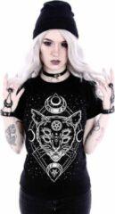 Restyle Dames Tshirt -XL- Galaxy Cat Zwart