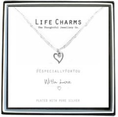 Life Charms Ketting met Giftbox Silver Heart & Crystal