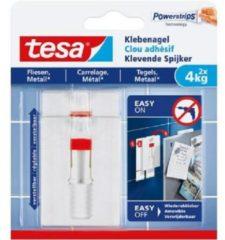 Witte Tesa Klevende Spijker voor Tegels en Metaal, verstelbaar, draagvermogen 4 kg, blister van 2 stuks