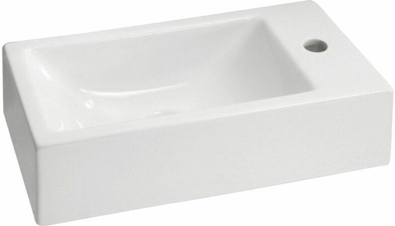 Afbeelding van Witte Aqua Splash Wiesbaden Keramische rechthoekig fontein Metis 50X25X13 cm wit