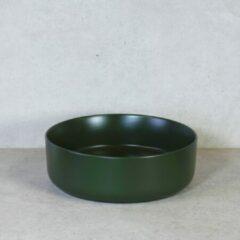 QeramiQ Note opbouw waskom 37x12cm keramisch olijfgroen mat 10401057