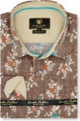 Gentile Bellini Heren Overhemd - Slim Fit - Spring Leaves - Bruin - Maat XXL