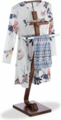 Relaxdays dressboy notenhout look - kledingrek - hout metaal - kleerstandaard donkerbruin