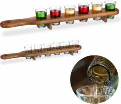 Bruine Relaxdays 2x shotglas set met plank - serveerplank - 12 glaasjes - 4 cl shotglaasjes