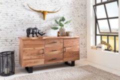 Wohnling Sideboard GAYA 160 x 84 x 46 cm Massiv-Holz Akazie Natur Baumkante Anrichte Landhaus-Stil Kommode mit Schubladen & Türen Flur Schrank Stand