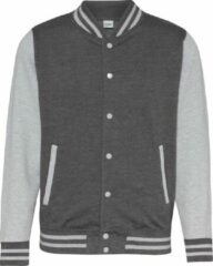Grijze Awdis Unisex Varsity Jacket (Houtskool/Heather Grey)