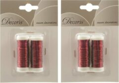 Decoris 4x Rood ijzerdraad op rol 3000 cm - Hobby ijzerdraad rood