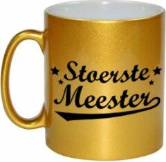 Bellatio Decorations Stoerste Meester Cadeau Mok - 330 Ml - Goudkleurig - Meesterdag/einde Schooljaar Cadeau