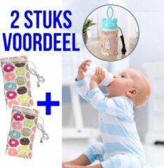 Allernieuwste 2 STUKS USB Baby Fles Warmer model Donuts- Heater - Reisaccessoire - Draagbaar - Klittenband - Kleur