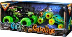 Gele Hot Wheels monster jam truck 3-pack - Curse of the Gasoline met Grave Digger schaal 1:24 en Scooby-Doo & The Mystery Machine schaal 1:64