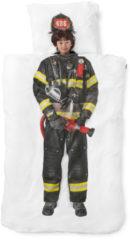 Witte Snurk Brandweerman kinderdekbedovertrekset van katoen perkal 160TC - inclusief kussenslopen