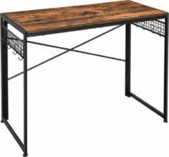 MIRA Home - Computertafel - Opklapbaar bureau met 8 haken - Spaanplaat/Metaal - Industrieel Ontwerp - Vintage - Bruin/Zwart - 100x50x76