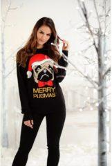 Merkloos / Sans marque Kersttrui zwart met mopshond voor dames/heren XL (42)