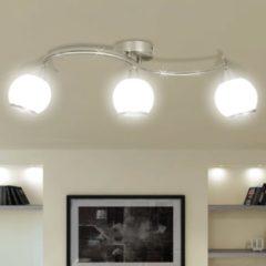 Witte VidaXL Plafondlamp glazen kappen + golvende rail voor 3 x E14 peertjes